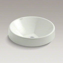 """KOHLER - KOHLER Inscribe(R) Wading Pool(R)  16.5"""" round drop-in bathroom sink - An alluring contrast of shapes defines the Inscribe Wading Pool sink. The deep, circular cast iron basin has gently sloping walls descending to a precisely squared bottom with centered drain."""