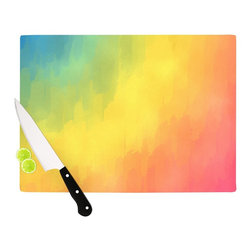 """Kess InHouse - Fotios Pavlopoulos """"Watercolor Layers"""" Rainbow Cutting Board (11"""" x 7.5"""") - These sturdy tempered glass cutting boards will make everything you chop look like a Dutch painting. Perfect the art of cooking with your KESS InHouse unique art cutting board. Go for patterns or painted, either way this non-skid, dishwasher safe cutting board is perfect for preparing any artistic dinner or serving. Cut, chop, serve or frame, all of these unique cutting boards are gorgeous."""