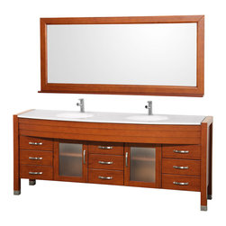 "Wyndham Collection - Daytona Bathroom Vanity in Cherry, White Stone Top, White Integral Sinks - The Daytona 78"" Double Bathroom Vanity Set - a modern classic with elegant, contemporary lines. This beautiful centerpiece, made in solid, eco-friendly zero emissions wood, comes complete with mirror and choice of counter for any decor. From fully extending drawer glides and soft-close doors to the 3/4"" glass or marble counter, quality comes first, like all Wyndham Collection products. Doors are made with fully framed glass inserts, and back paneling is standard. Available in gorgeous contemporary Cherry or rich, warm Espresso (a true Espresso that's not almost black to cover inferior wood imperfections). Transform your bathroom into a talking point with this Wyndham Collection original design, only available in limited numbers. All counters are pre-drilled for single-hole faucets, but stone counters may have additional holes drilled on-site."
