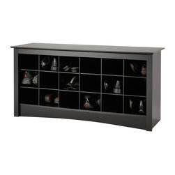 Prepac - Prepac Black Shoe Storage Cubbie Bench - Prepac - Shoe Racks - BSS4824 - Sit down and slip on your shoes. Doesn't it make sense to have your shoes stored in the same place as you put them on? This dual-purpose product is both stylish and functional and is a great addition to a front entrance way mudroom or utility room. Each of the 18 cubbies measure 6W x 5H x 13D which make them large enough to holdmen's size 13 shoes! Pair this bench with Prepac's Sonoma Black Cubbies Shelf/Wall Coat Rack for added functionality. Some assembly is required