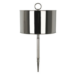 Robert Abbey - Porter Wall Lamp - Go for the gleam! A masterpiece in metal from finial to point, this stunning sconce is a brilliant way to light your favorite contemporary setting.