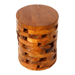 None - Bare Decor Stonehenge Solid Teak Wood Stump End Table - This unique table can serve as a coffee table,side table,plant stand or bed side table. The layered design will add an interesting focal point to your space.