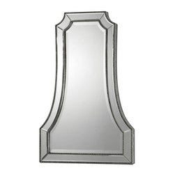 Uttermost - Cattaneo Silver Beaded Mirror - Strips of hand beveled mirrors surrounded by a beaded inner and outer edge create the frame for this beveled mirror.