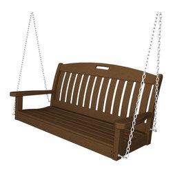 """POLYWOOD� - Nautical Porch Swing - The Nautical Collection is all about comfort. Each piece has been designed with contoured seating to provide proper support. Choose your desired back height in the Nautical Low Back or High Back Chairs, both popular designs. This truly is maintenance-free furniture for the outdoors that is built to last a lifetime, so you can sit back, relax, and forget about it! Features: -Made to withstand a range of climates including hot sun, cold winters, and salty coastal air -Fade resistant colors permeate each board -Made in the USA -Stainless steel hardware -Shipped knocked down, with easy assembly required -Suitable for both residential and commercial use -Swing chain kit includeded -Seat Height: 17"""" -Seat Size: 45""""W x 17.25""""D -Overall Dimensions: 24.5""""H X 51.75""""W X 25""""D What is Poly-Wood? Poly-Wood is a high performance wood lumber substitute manufactured from high density-plastic. It consist of high density polyethylene resins, select coloring and foaming agents. Poly-Wood is processed into a specification product that closely resembles painted and natural wood products. Poly-Wood absorbs no moisture, therefore it will not -Rot -Warp -Crack -Splinter -Support bacterial growth Poly-Wood is compounded with permanent, UV stabilized colors, eliminating the need for -Painting and Staining -Waterproofing -Stripping and Resurfacing Additionally, this product is impervious to many common corrosive substances including salt water, as well as gasoline and hydrocarbon oils. Poly-Wood is worked with standard woodworking tools and hardware. Screws are the preferred fastener for the attachment of the material. Poly-Wood is not attached with adhesives; its surface characteristics resist adhesives and the solvents used as carriers for many adhesives. Additionally, Poly-Wood is impervious to paint, stains, and mineral spirits. To maintain Poly-Wood, clean the lumber with soap and water. All-purpose cleaners or 1/3 bleach and water solutions take care of"""
