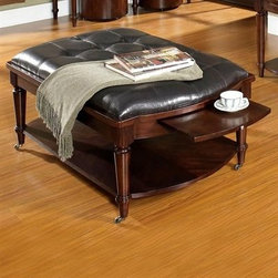 Morgan - This table combines casters for easy placement, clever slide-out extensions and rich leather upholstery.