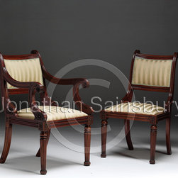 Tatham Dining Chair - A Regency mahogany dining chair with carved paterae and reeded legs, carved in the style of Tatham.