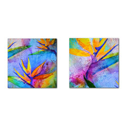 READY2HANGART.COM - Ready2hangart Alexis Bueno Tropical Birds of Paradise (2-PC) Canvas Wall Art Set - This Birds of Paradise set was inspired by the Tropics; full of color fusion. It is fully finished, arriving ready to hang on the wall of your choice.
