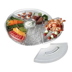 PRODYNE - Acrylic Tray Appetizers on Ice with Lid - Think like a professional chef with this ice bed appetizer tray. Pop your lovingly prepared hors d'oeuvres inside to keep them as crisp and cool as they were when you first made them. The three clear compartment trays are vented to let the cool through, and each has a lid to ensure your apps make it to the party intact.