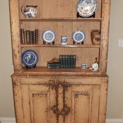 Antique Distressed Cupboard - This is a spectacular antique hutch or cupboard with upper shelving, suitable for china cabinet, book and decor display, or tons of great home office or kitchen storage!