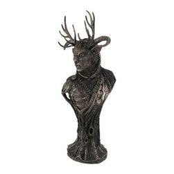 Incredibly Detailed Bronze Celtic God Cernunnos Statue Bust - Cernunnos, known to the Celts as `The Horned One,` is the stag antlered God of the Forest, God of Prosperity and God of the Underworld. He often carried a bag filled with coins, and was purported to be a shape-shifter with the ability to turn himself into any animal. His antlers are regarded as symbols of virility and fertility. The Horned God is born at the winter solstice, marries the goddess at Beltane, and dies at the summer solstice, representing the growing season and bountiful harvests. This cold cast resin bust stands 12 inches tall, 5 1/2 inches at its widest, and has a 3 1/2 inch diameter base. The beautiful bronze finish and hand-painted accents highlight the incredible detail in this piece, from the antlers and the tree bark to the textured fur. It looks great on mantels, bookshelves, desks, or anywhere in your home or office.