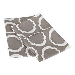 600 Thread Count King Pillowcase Set Cotton Rich Scroll Park  - Grey/White - 600 King Pillowcase Set Cotton Rich Scroll Park  - Grey / White