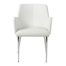 Euro Style - Sunny Modern Arm Chair - Set of 2 - Set of 2. Chromed steel frame and base. Leatherette seat, back and arms. 20.67 in. W x 22.83 in. D x 31.89 in. H (16.5 lbs.)Grand ideas for small spaces, the smooth and clean geometric shapes give your rooms a trendy, up-to-date look. The furniture design make your rooms stylish and sophisticated, symbolizing your self confidence.