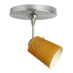 "Besa Lighting - Besa Lighting 1SP-5118OK-LED6 Tammi MR16 LED Spot Light - Tammi 3 features a tapered drum shape, open at the top, that fits beautifully in transitional spaces. Our Oak glass is a soft off-white cased glass that is handcrafted with spiraling strokes of light brown, emphasizing the subtle brush pattern. The wood-toned rippled design is subdued and harmonious. Unlit, it appears as simply a textured surface like wood grain, but when lit the texture comes alive. The smooth satin finish on the clear outer layer is a result of an extensive etching process, with the texture of the subtle brushing. This blown glass is handcrafted by a skilled artisan, utilizing century-old techniques passed down from generation to generation. The 12V spotlight fixture is equipped with a 1.5"" long stem, swivel lampholder, quick connect jack, and a low profile flat monopoint canopy.Features:"
