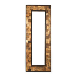 "Kathy Kuo Home - Reclaimed Wood Metal 30"" X 80"" Leaning Floor Mirror - Constructed out of raw recycled steel and finished with an oil rubbed bronze, this large leaning floor mirror is inset with cut reclaimed wood.  This item will ship crated and freighted because of its size and weight."