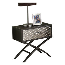 Homelegance - Homelegance Spaced Nightstand - Your little boy is growing up. Homework...friends... video games... His bedroom needs will be perfectly met with the Spaced Out collection. The bunk beds provide ample room in a futuristic configuration. Supported with the cool lines of an X frame, the Spaced Out collection features framed, chrome-finished, diamond plate metal accents and a cool gunmetal grey powder coat finish. A matching work station is also available.