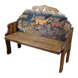 3 Horses Hand Painted Mexican Solid Wood Bench - Look at this 100% Solid Pine Wood bench with 3 Horses! Hand carved and hand painted! Each one is slightly different and unique. Mexico's best. Some (not All) of these can take 6-8 weeks to arrive. C'mon, they are hand carved and hand painted! They are totally worth the wait! Buy now!