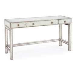 Kathy Kuo Home - Joelle Hollywood Regency Silver Leaf Mirror 3 Drawer Vanity Table Desk - Like the great 'ice queens' of old Hollywood, pieces finished in silver and eglomise mirror bring a serene, cool beauty to any scene or setting.  This three drawer console offers beauty and brains - offering smart storage and one electrical outlet in the drawers behind the silver finished drop handles.