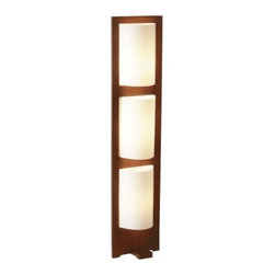 Adesso - Adesso Zen Floor Lamp, Walnut - Adesso Zen Floor Lamp, WalnutThis unique floor lamp as a rich dark maple finishWhite acrylic PVC shadeShade dimensions are 10-Inch in height. 9-Inch depthLamp dimensions are 50-Inch in height. 11-Inch width. 11-Inch depthRequires three 75-Watt E27-socket bulbs  (bulb is not included). foot step switchNeed more information on this product? Click here to ask.