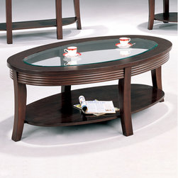 Wildon Home � - Blue Lake Coffee Table - Create a charming focal point of interest in your living room with the relaxed contemporary designs of this oval coffee table. Graceful flared legs, carved sides and a beveled glass top compliment the rich cappuccino. Allow the beautiful glass surface to be clutter free and store books, TV remotes, or even blankets on the large bottom shelf. Arrange this coffee table with the coordinating end table and sofa table for a polished look. Features: -Flared legs, carved sides.-Beveled glass top.-One storage shelf.-Cappuccino finish.-Blue Lake collection.-Collection: Blue Lake.-Distressed: No.Dimensions: -Overall dimensions: 19.25'' H x 52'' W x 32'' D.-Overall Product Weight: 64.42 lbs.