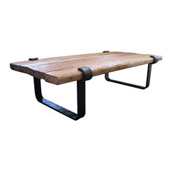 R.T. Facts - Rustic Clasp Coffee Table - There's nothing like merging the natural quality of wood with the industrial strength of iron — and this coffee table definitely proves that. Place this piece front and center as the showstopper in your living room.