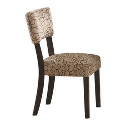 """Coaster - Side Chair (Cappuccino) By Coaster (Set Of 2) - Set of 2. Contemporary style. Upholstered seat and seat back. Modern design with casually refined feel. Made from poplar solids and birch veneers. Dark cappuccino finish. 25 """" W x 19 """" D x 34 """" H.  Bring detail and design into your dining space with the Libby dining side chair. This chair is sturdy while also maintaining a stylish appearance. Subtle curves along the chair back makes a statement in your home. The Libby Side Chair makes a perfect addition to any contemporary dining space."""