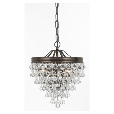 Calypso Chandelier by Crystorama - Calypso Chandelier features clear smooth glass balls with a vibrant bronze finish on a brass frame and is available in a 3-light or a 6-light version. Either (3) or (6) 60-watt, 120 volt B10 candelabra base incandescent bulbs are required, but not included. Dimensions: 3-light: 12W x 15.5H. 6-light: 20W x 24H.