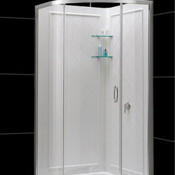 """DreamLine - DreamLine Solo 34 3/8"""" by 34 3/8"""" Frameless Sliding Shower Enclosure - This DreamLine kit includes a space saving SOLO shower enclosure, SlimLine shower base and coordinating shower backwalls for a winning combination. The SOLO's sliding shower door provides easy access to the shower without requiring a large open space. The SlimLine shower base incorporates a low profile design for a sleek modern look, is scratch and stain resistant and fiberglass reinforced for added strength. The wall panels have a tile pattern and are easy to install with a trim-to-size fit. Both the shower panels and shower base are made from durable and attractive Acrylic/ABS advanced materials. A kit from DreamLine is all you need to update an entire shower space.  Items included: Solo Shower Enclosure, 36 in. x 36 in. Quarter Round Shower Floor and QWALL-4 Shower Backwall KitOverall kit dimensions: 36 in. D x 36 in. W x 76 3/4 in. HSolo Shower Enclosure:,  34 3/8 in. W x 34 3/8 in. D x 72 in. H ,  1/4 (6 mm) clear tempered glass,  Chrome hardware finish,  Frameless glass design,  Out-of-plumb installation adjustability: Up to 3/4 in. per side,  Anodized aluminum profiles and guide rails,  Designed to be installed against finished walls (not directly to studs),  Door opening: 17 3/4 in.,  Two stationary panels: 22 in. and 13 7/16 in.,  Reversible for right or left door opening installation,  Material: Tempered Glass, Aluminum,  Tempered glass ANSI certified36 in. x 36 in. Quarter Round Shower Floor:,  High quality scratch and stain resistant acrylic,  Slip-resistant textured floor for safe showering,  Integrated tile flange for easy installation and waterproofing,  Fiberglass reinforcement for durability,  cUPC certified,  Drain not includedQWALL-4 Shower Backwall Kit:,  Color: White,  Assembly required,  Designed to be installed over existing finished surface (not directly against studs),  Includes 2 glass corner shelves,  Attractive tile pattern,  Unique water tight connection o"""