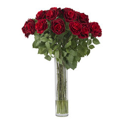 """Nearly Natural - Large Rose Silk Flower Arrangement - This is it - if you want to make a bold statement with beautiful flowers, our large Rose arrangement is exactly what you are looking for. Standing nearly three feet in height, the lush, red blooms rise out of a soft bed of leafy greens, making this arrangement a literal feast for the eyes. Complete with a 18"""" high vase (with faux water), your Roses will never wilt, and look as stunning years from now as they do today."""