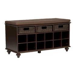 """Holly & Martin - Holly & Martin MacKenzie Shoe Bench X-21-5-050-951-90 - No more piles of shoes by the door! Stylish yet soft-spoken, this shoe bench provides the perfect solution to an untidy entryway or cluttered bedroom.  This beautiful, espresso shoe bench has 12 shoe storage shelves and will accommodate 6 to 12 pairs of shoes. The bench has a padded seat with a warm, espresso brown cover that is removable and washable. Three substantial rattan pull out drawers provide the perfect catchall to help organize your essentials such as gloves, scarves, etc.  This shoe bench will be a perfect addition to any entryway, bedroom or sunroom.  It's a versatile storage piece for organized bliss in any room! Order one, or more, today to complete your home with style.  The handcrafted touch of artisan skill creates variations in color, size and design. If buying two of the same item, slight differences should be expected.  - 38"""" W x 16.25"""" D x 21.75"""" H                                                                           - Includes 3 rattan drawers and 12 shoe storage shelves                                                 - Drawers: 10"""" W x 13.5"""" D x 3"""" H                                                                       - Seat: 21.75"""" H: Clearance: 3.25"""" H                                                                    - Shoe storage shelves: 5.25"""" W x 14.5"""" D x 4.75"""" H                                                     - Warm espresso finish with espresso seat cover                                                         - Approx. weight: 68 lb.                                                                                - Supports up to: 250 lb.                                                                               - Materials: hardwoods, MDF, maple veneer, rattan, foam                                                 - Assembly required"""