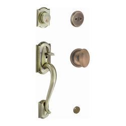 Schlage - Camelot Handleset w Siena Interior Knob in An - Manufacturer SKU: F93 CAM 609 SIE. Handle Type: Handleset. Dummy function includes a handleset grip, interrior knob or lever and non-functioning deadbolt; does not lock. Patented adjustable through-bolt allows easy installation; retrofits existing doors. Universal knob works for right or left handed doors. Limited lifetime mechanical and finish warranty. Coordinate with other siena antique brass products. High quality materials and construction used for a longer life and brilliant finish. Designed for standard door prep (fits existing pre-drilled holes). Universal latch adjusts to fit 2-3/8 In. or 2-3/4 In.. Fits 1-3/8 In. to 1-3/4 In. wood or metal doors. Finish: Antique Brass. 2.9 in. L x 3 in. W x 12.9 in. H (5.2 lbs)