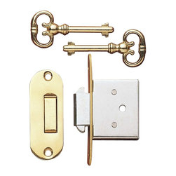 "Renovators Supply - Office Desks Bright Solid Brass Desk Lock W/ Key - Distance from center of key hole to edge of strike on lock is 1""."