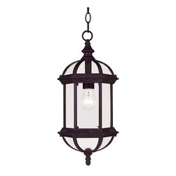 Savoy House - Savoy House Kensington Outdoor Chain Hung Lighting Fixture in Pewter - Shown in picture: Classic exterior fixture available in two finishes: Textured Black and Rustic Bronze with Clear Beveled Glass.