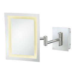 """Single-Sided LED Rectangle Wall Mirror - This Single-Sided LED Rectangular Wall Mirror is a great accessory to any bathroom. The frameless mirror shows off the visible concave curve of the mirror and adds to its minimalist and almost futuristic look.  The 3x magnification 6 ½' x 8 ¾"""" mirror is supported by a 12 1/2"""" extension. The LED lights provide a bright shade of white. Available in three finishes."""