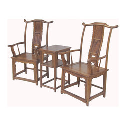 "Golden Lotus - Pair Chinese Ming Style HuangHuaLi Yoke-Back Arm Chair - This is Yoke-back arm chair with protruding end that is made of HuangHuaLi is also called yellow rose wood that has natural yellowish brown color with nice charming wood grain pattern paten is called ""Ghost Face"" which is hard to find.  The high yoke-back chair with protruding ends and arms, commonly referred to as the official's hat chair, is the most successful of Chinese chair designs and one of the earliest styles to emerge.  Its sweeping lines of the chair, including the exaggerated arches of the top crest rail and the C-curved back splats, create a sense of movement.  Its very profile suggests a more distinctive role in the Chinese home: to receive guests in the mail hall or to be used by scholars in their studies.  Right now, It should be perfect to decorate your living room."