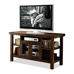 Riverside Furniture - Castlewood TV Console with 2 Glass Doors - Each outside open storage area with fixed center shelf.