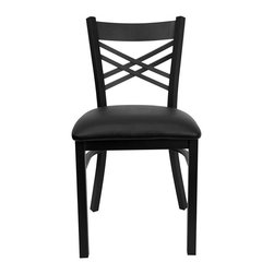 Flash Furniture - Flash Furniture Hercules Series Back Metal Chair in Black - Flash Furniture - Dining Chairs - XU6FOBXBKBLKVGG - Provide your customers with the ultimate dining experience by offering great food service and attractive furnishings. This heavy duty commercial metal chair is ideal for Restaurants Hotels Bars Lounges and in the Home. Whether you are setting up a new facility or in need of a upgrade this attractive chair will complement any environment. This metal chair is lightweight and will make it easy to move around. For added comfort this chair is comfortably padded in vinyl upholstery. This easy to clean chair will complement any environment to fill the void in your decor. [XU-6FOBXBK-BLKV-GG]