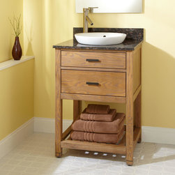 "24"" Toby Vanity for Semi-Recessed Sink - Complete with a porcelain sink and a stone counter top, the 24"" Toby Vanity is an essential, providing storage for towels and other necessities."