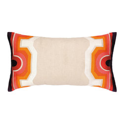 """Trina Turk - Trina Turk Arcata Pink/Purple Embroidered Pillow - Globally-inspired style meets modern design on the Trina Turk Arcata pillow. Showcasing a display of striking hues, this beige decorative accessory's borders captivate with geometric patterns. Red, orange, pink and purple; 26""""W x 14""""H; 100% linen; Dry clean only; Down pillow insert included"""