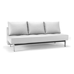 """Innovation USA - """"Innovation"""" Sly Deluxe Q White Leather Sofa Bed / Chrome... - Features:"""