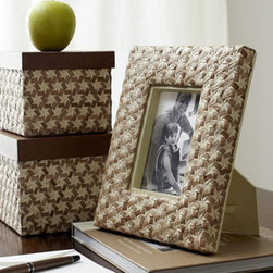 "Horchow - Two Star-Weave Desk Boxes - Sporting a striking origami-inspired star-weave pattern, these distinctive boxes and picture frame are sure to inspire conversations as they add storage and display to desk tops or bookcases. Handcrafted of bleached and smoked buri palm fiber, ""faux-le..."