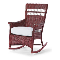 Frontgate - Chatham Outdoor Rocker, Patio Furniture - Crafted with a timeless, unique process for fine woven furniture. Features decorative braided cord. Finished with two coats of environmentally friendly, polyester resin-based paint and wiped by hand to give a unique look. Rocker includes cushion featuring exclusive Sunbrella® fabrics, the finest solution-dyed, all-weather material available. Table features an attractive tempered glass top. Our quest for classic Americana porch furniture led us to a family business in Michigan that has been handcrafting award-winning wicker furniture for more than 100 years; it produced this exquisite Chatham Rocker and Side Table. Using time-honored techniques, artisans weave the wicker from twisted craft paper, then reinforce it with aluminum wire and coat it in latex to ensure its resistance to the elements. Wicker is hand-fitted over aluminum frames and given a durable paint finish in classic American colors.. . . Rocker includes cushion featuring exclusive Sunbrella fabrics, the finest solution-dyed, all-weather material available. . Spot clean the cushion; wipe table and rocker with a damp cloth. 3-year manufacturer's warranty . Made in the USA.
