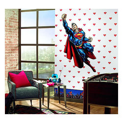 York Wallcoverings - Superman White Logo Prepasted Wallpaper (2X Single Rolls) - Features: