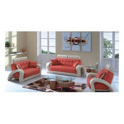 American Eagle Furniture - 7030 Orange & Beige Bonded Leather Three Piece Sofa Set - The 7030 sofa set will be a great addition for any living room that needs a touch of today's modern style. This sofa set comes upholstered in a stunning two-tone orange and beige bonded leather on the front where your body touches. Carefully chosen match material is used on the back and sides where contact is minimal. The two-tone design is features with the arms and headrests in the beige color as where the seating area is in the orange. The sofa set features a unique open arm design that adds to the overall look. The sofa set shown includes a sofa, loveseat, and chair only. The coffee table shown is NOT included.