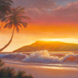 Evening in Ka'anapali - This one of a kind, original seascape oil painting was painted on a 18×24 acid-free, triple-primed cotton gallery-wrapped canvas using Holbein oil paints.  The edges of the canvas are painted, so the painting can be hung as is or it can be framed.  Would look great in the home or office!