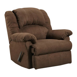 Chelsea Home - Traditional Clarion Recliner - Mechanically engineered mechanisms. Aruba chocolate cover. Seating comfort: Medium. Sturdy kiln-dried hardwood frame. Stress points are reinforced with blocks to secure long lasting frame. Attached back cushions. Sinuous springs. Hi-density foam cores with dacron polyester wrap cushions. Made from microfiber. Made in USA. No assembly required. 41 in. L x 40 in. W x 40 in. H (100 lbs.)