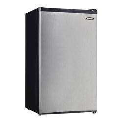 Danby - 3.3 CuFt. Refrig,Push Button Defrost,Separate Freeze Section - Danby's DCR033A1BSLDD Energy Star 3.3 Cu. Ft. Compact Refrigerator, with black sides and stainless steel door, offers additional refrigeration in a compact space perfect for a game room, dorm room or small office. With a separate freezer section, wire shelves, CanStor beverage dispenser and tall bottle storage, there is a spot for everything. Plus, the reversible door hinge and the smooth-back design make it easy to fit anywhere.Energy Star compact refrigerator with 3.3 cu.ft. (92 liters) total capacity|Separate 0.34 cu. ft. (9.63 liters) capacity freezer|Manual (push button) defrost and mechanical thermostat|Wire shelves|CanStor beverage dispenser|2-liter bottle storage|Integrated door shelves for small items|Reversible door hinge for right or left hand opening|Integrated door handle|Smooth-back design for a flush fit against walls|  danby| dcr033a1| dcr033a1bsldd| 3.3cf| 3.3| cubic| feet| cu.| ft.| cu| ft| compact| refrigerator/freezer| refrigerator| with| separate| independent| freezer| section| manual| defrost| black| sides| stainless| steel| door  Package Contents: refrigerator|manual|warranty  This item cannot be shipped to APO/FPO addresses