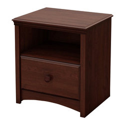 South Shore - South Shore Sweet Morning Nightstand in Royal Cherry - South Shore - Kids Night Stands - 3246062 - This sturdy Sweet Morning Nightstand in Royal Cherry finish has been made to meet your childs needs for years to come. This look which will never go out of style works well with various types of d��cor so you can change your little ones bedroom to suit his or her tastes without having to think about replacing the furniture. It was designed with both maximum safety and a trendy look in mind to give you a well ordered and highly practical room.  It creates a pleasant comfortable space for your child. Furthermore the Royal Cherry wooden knobs shaped kick plate and profiled drawers are really confirming its traditional style.