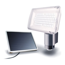 Maxsa Innovations - Solar Security Floodlight 80 LEDs - Solar Powered Aluminum 80 LED Security Light is Perfect for entryways, walkways, sheds, patios, balconies, decks, steps, garages, driveways, carports, and backyard and farm sheds. Also great for RVs and other areas where electricity is not available. 80 super bright LED lights provide maximum illumination and efficiency.  Light automatically turns on when motion is detected at night for security, safety, and convenience.  Easy DIY installation. No wiring. No electrician needed.  Includes 3 AA Ni-MH rechargeable batteries.  Adjustable motion sensor detects motion up to 35 feet away within a 180 degree detection area.  15 foot cable allows ideal location for solar panel and lets you mount the light inside, if desired.  Uses free energy from the sun.  Time, motion sensitivity, and LUx (daylight sensitivity) adjustments.  Light can activate up to 90 times when on for 1 minute at a time.  Durable weatherproof Aluminum housing.