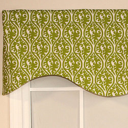 RLF Home - Green Mosaic Cornice Valance - This patterned cornice valance adds a classic touch to your home décor. For smaller windows, these fit gathered on the rod to create a luxuriously ruffled look. Use more than one for larger openings.   Fits standard and continental curtain rods 52'' W x 17'' H Self: 100% cotton Lining: 70% polyester / 30% cotton Spot clean Made in the USA