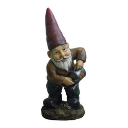 """15"""" Watering Garden Gnome - Lovely watering garden gnom. Made of durable and lightweight poly-resin with a weathered finish."""